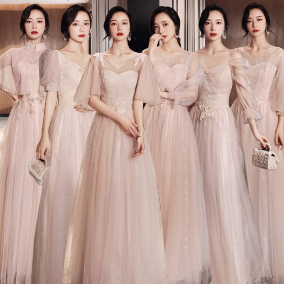 Elegant Blushing Pink Bridesmaid Dresses 2021 A-Line / Princess V-Neck Lace Flower Short Sleeve Backless Floor-Length / Long Wedding Party Dresses