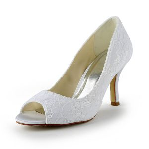 Classic Lace Bridal Shoes White Peep Toe Stiletto Heel Pumps