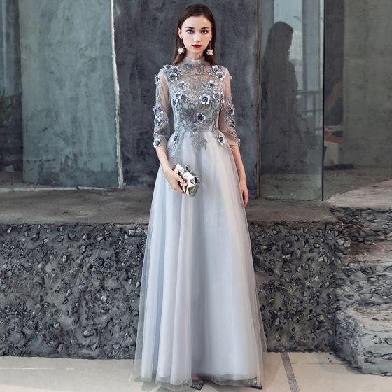 Iluzja Szary Przebili Sukienki Wieczorowe 2019 Princessa 3/4 Rękawy Wysokiej Szyi Aplikacje Z Koronki Kwiat Frezowanie Długie Wzburzyć Bez Pleców Sukienki Wizytowe