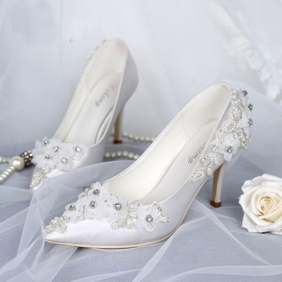 Luxury / Gorgeous White Wedding Shoes 2019 Leather Appliques Pearl Rhinestone 8 cm Stiletto Heels Pointed Toe Wedding Pumps