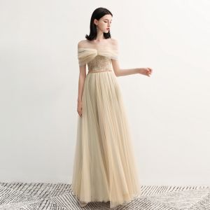 Élégant Champagne Robe De Soirée 2018 Princesse De l'épaule Manches Courtes Paillettes Perlage Ceinture Longue Volants Dos Nu Robe De Ceremonie