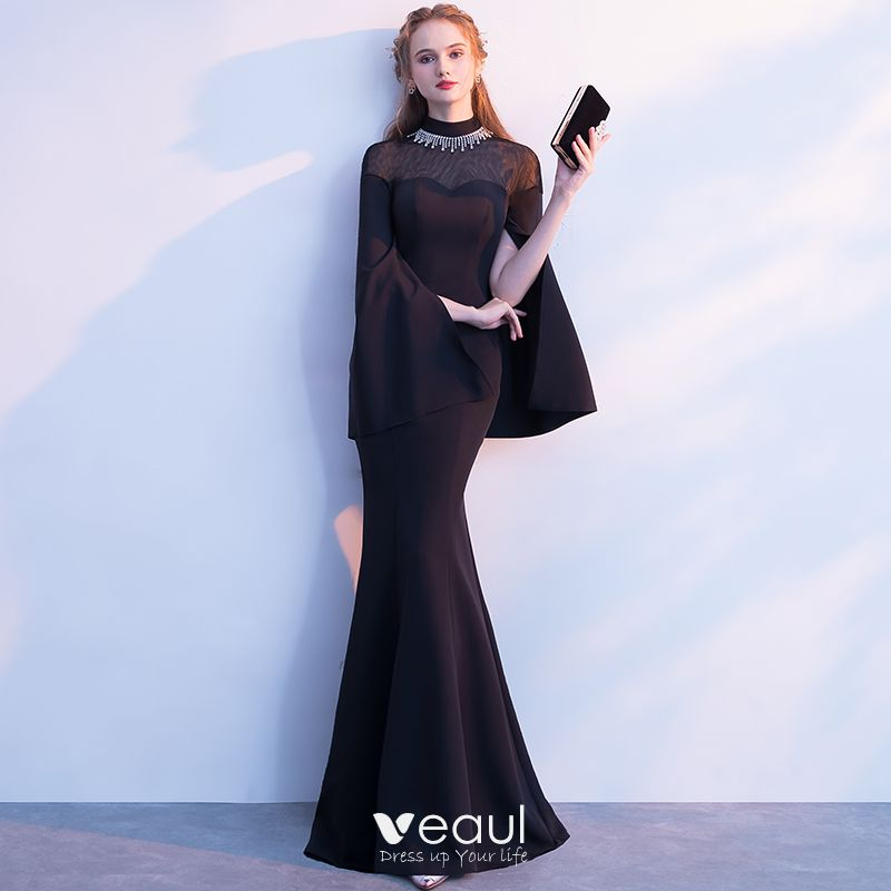 Elegantes Negro Vestidos De Noche 2018 Trumpet Mermaid Rhinestone Cuello Alto Manga Larga Largos Vestidos Formales