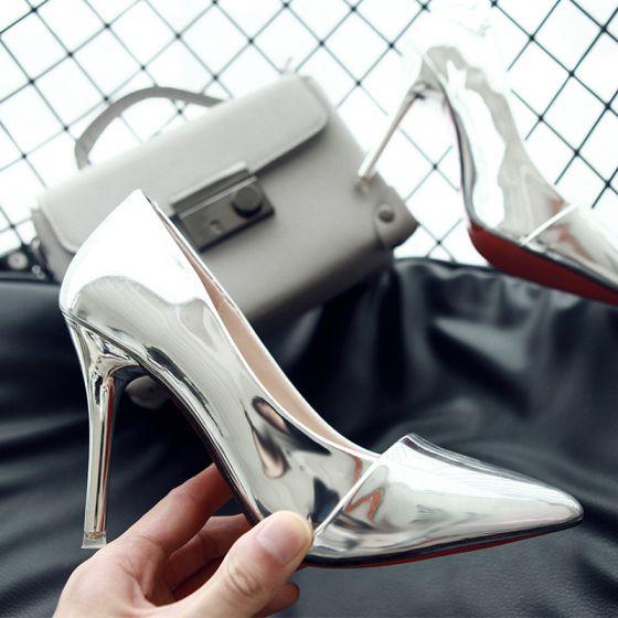 Klassisk 2017 Svarta Champagne Purple Silver Kontors PU Sommar Högklackade Stilettklackar 9 cm Pumps