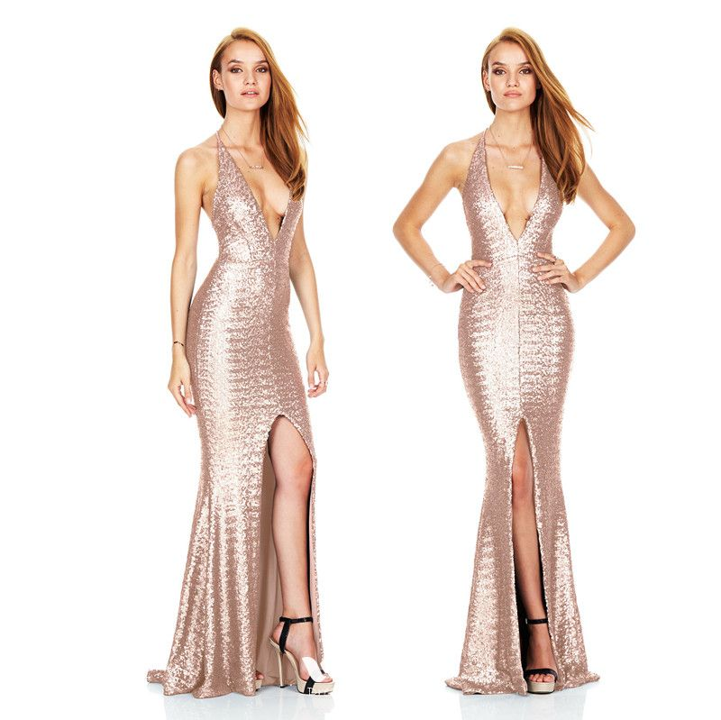 44de8527 Sexy Champagne Summer Maxi Dresses 2018 Trumpet / Mermaid Spaghetti Straps V -Neck Sleeveless Glitter Sequins Split ...