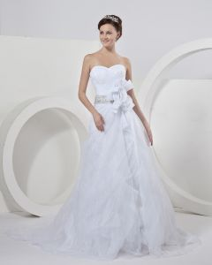 Flower Sash Chapel A-Line Bridal Gown Wedding Dresses