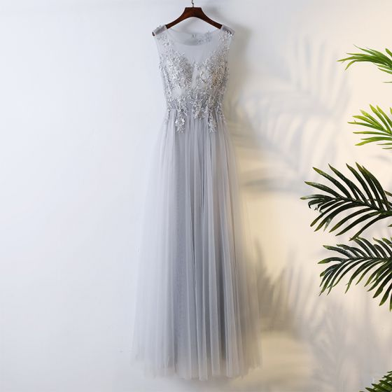 Chic / Beautiful Grey Bridesmaid Dresses 2017 Appliques Beading Sequins Lace Bridesmaid Tulle