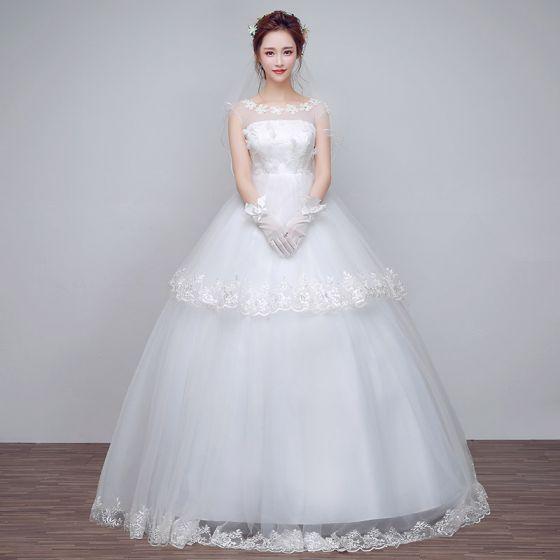 sencillos clásico pasillo vestidos de novia 2017 con encaje flor
