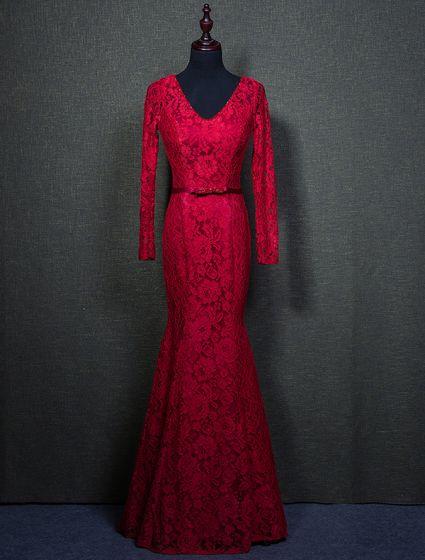 Elegant Burgundy Evening Dresses 2016 Mermaid Beading V-neck Long Sleeves Lace Formal Dress With Sash