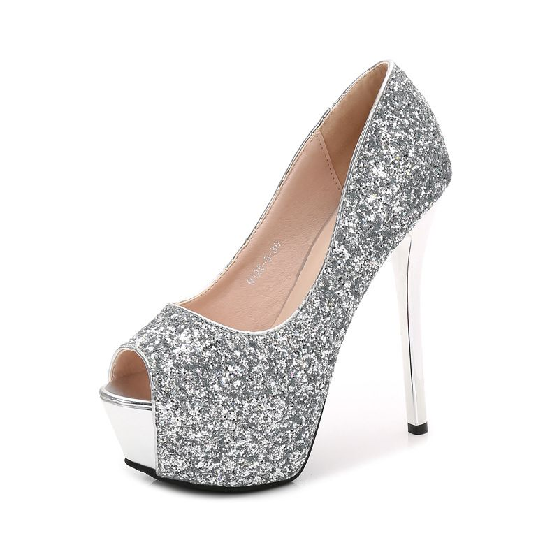 Charming Black Evening Party Womens Shoes 2020 Sequins 14 cm Stiletto Heels Open / Peep Toe High Heels