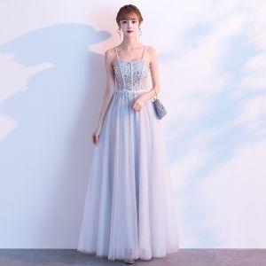 Chic / Beautiful Grey Evening Dresses  2020 A-Line / Princess Spaghetti Straps Sleeveless Sequins Beading Floor-Length / Long Ruffle Backless Formal Dresses
