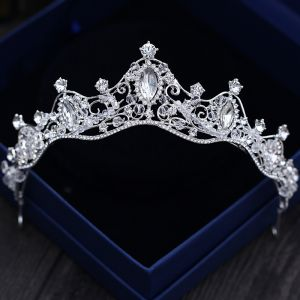 Brillante Plata Tiara 2018 Metal Crystal Rebordear Rhinestone Accesorios