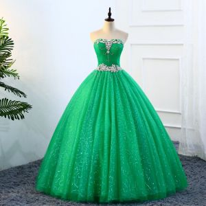Vintage / Retro Green Quinceañera Prom Dresses 2018 Ball Gown Rhinestone Sequins Sweetheart Backless 1/2 Sleeves Floor-Length / Long Formal Dresses