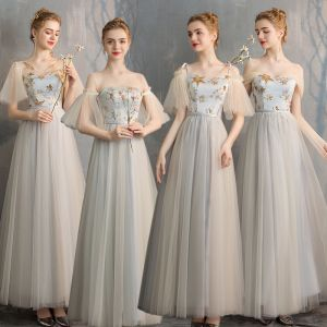 Affordable Grey Bridesmaid Dresses 2019 A-Line / Princess Star Sequins Sash Floor-Length / Long Ruffle Backless Wedding Party Dresses