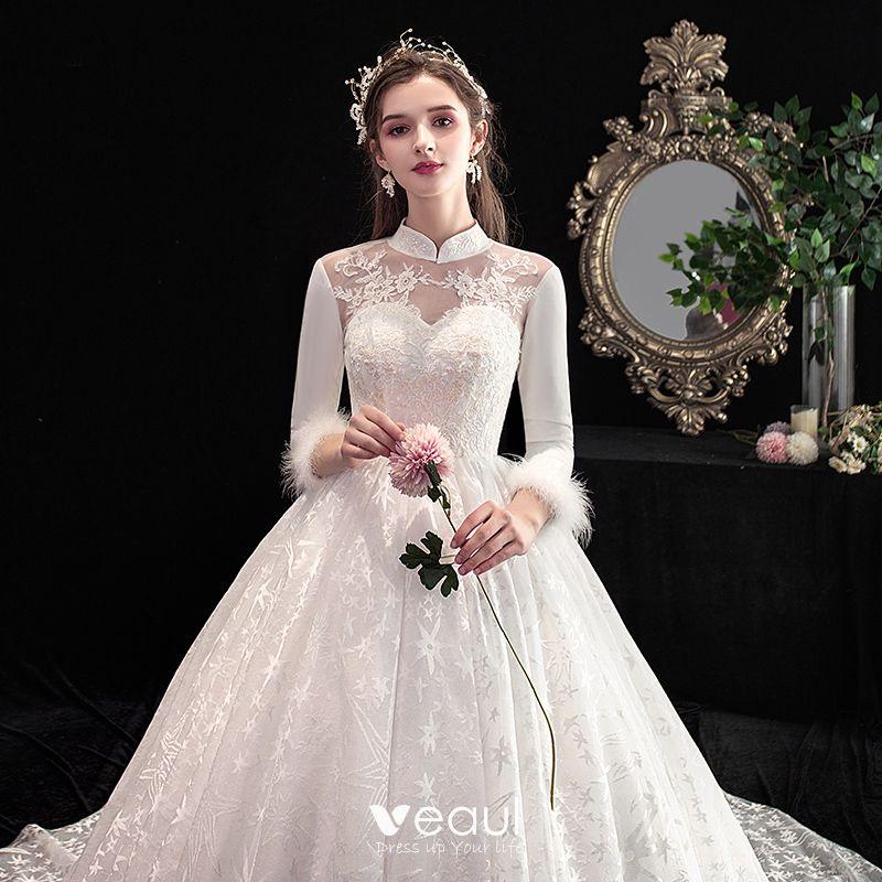 Vintage / Retro Chinese Style Ivory Wedding Dresses 2020 A