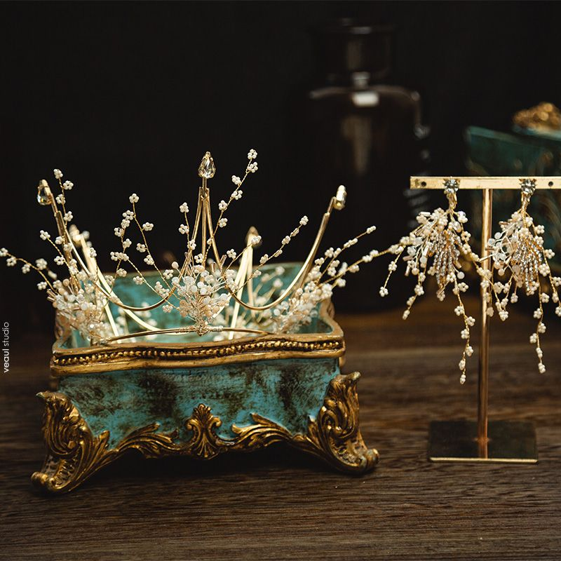 Charming Gold Bridal Jewelry 2020 Alloy Metal Beading Tiara Earrings Wedding Accessories