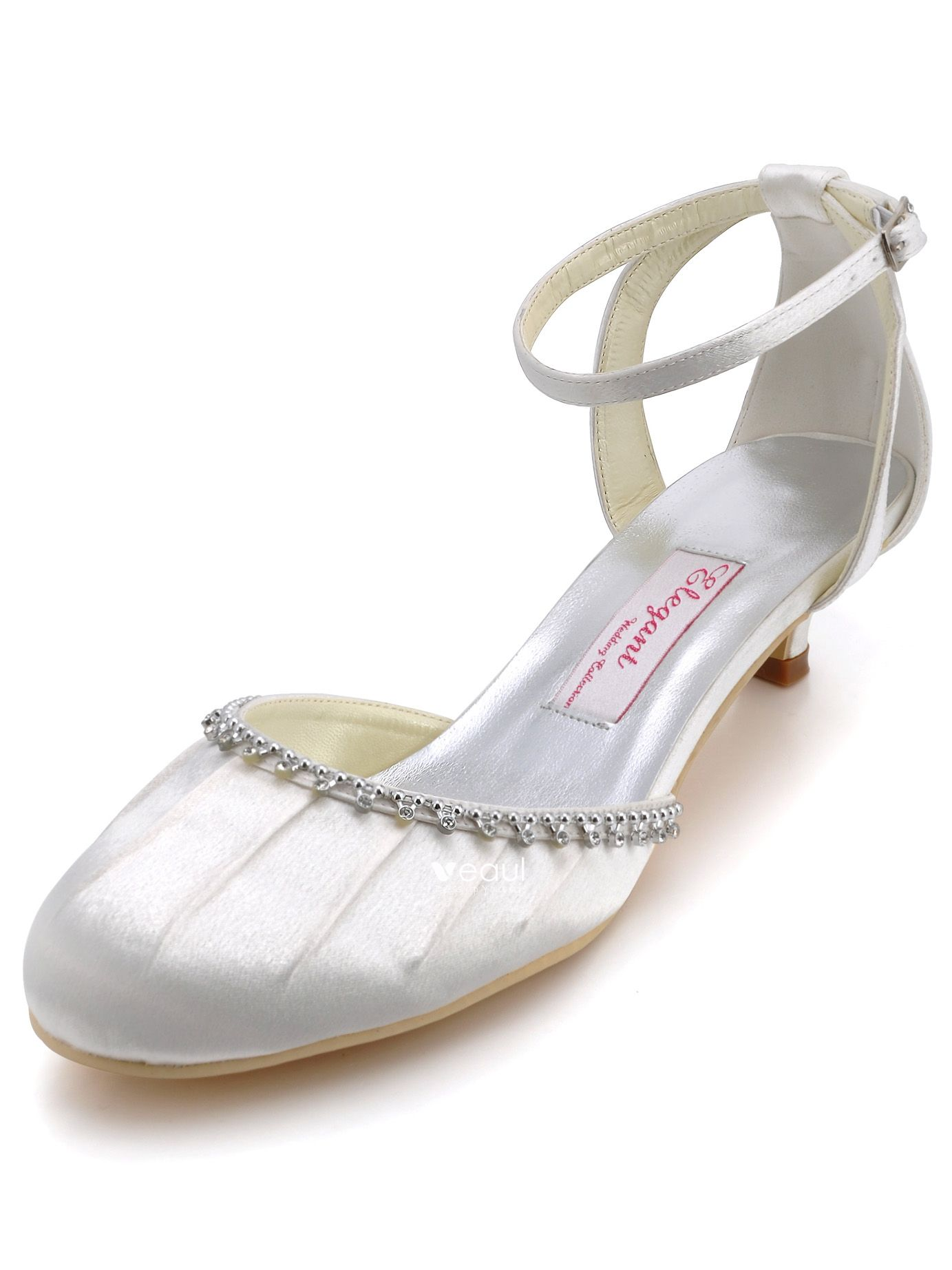 Satin Shoes With Diamond Chain Folds Wedding Shoes