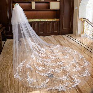 Frozen movie-kostuum Witte Royal Train Huwelijk Tule Kant Appliques 4 m Bruidssluier 2018
