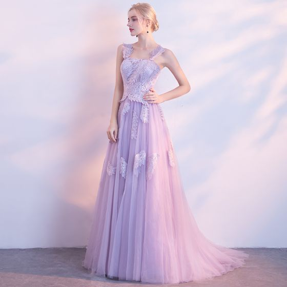 Chic / Beautiful Lavender Evening Dresses  2017 A-Line / Princess Lace Flower Backless Square Neckline Sleeveless Sweep Train Formal Dresses
