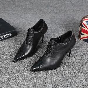 Mote Svart Gateklær Lær Kvinners støvler 2021 8 cm Stiletthæler Spisse Ankel Pumps