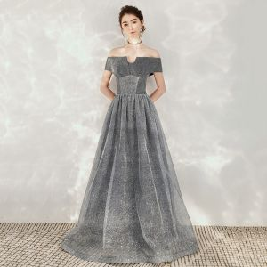Starry Sky Grey Dancing Prom Dresses 2020 A-Line / Princess Off-The-Shoulder Short Sleeve Glitter Tulle Floor-Length / Long Backless Formal Dresses