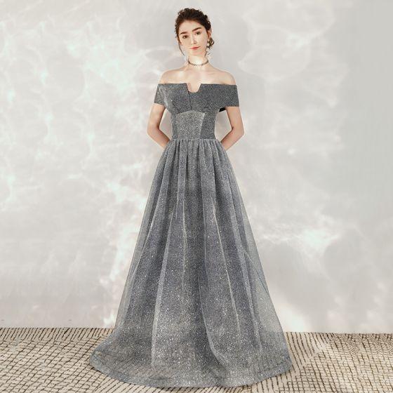 Starry Sky Grey Dancing Prom Dresses 2020 A-Line / Princess Off-The-Shoulder Short Sleeve Glitter Tulle Floor-Length / Long Backless Formal Dresses