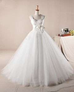 Graceful Ruffles Applique Beading Shoulder Straps Tulle A Line Wedding Dress