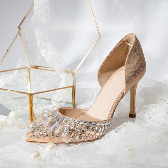 Piękne Szampan Buty Ślubne 2019 Skórzany Rhinestone 8 cm Szpilki Szpiczaste Ślub Wysokie Obcasy