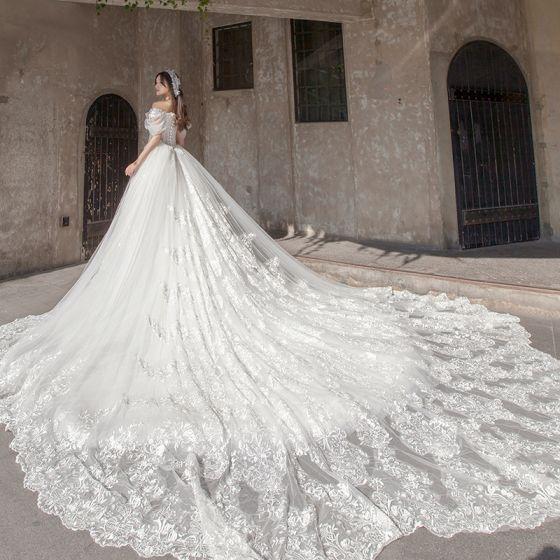 Stunning Ivory Wedding Dresses 2019 A-Line / Princess Off