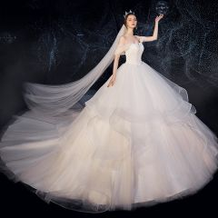 Chic / Beautiful Ivory Wedding Dresses 2019 Ball Gown Off-The-Shoulder Short Sleeve Backless Glitter Tulle Beading Sash Cathedral Train Cascading Ruffles