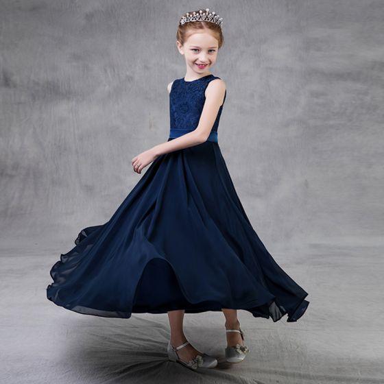 Proste / Simple Granatowe Szyfon Sukienki Dla Dziewczynek 2018 Princessa Wycięciem Bez Rękawów Szarfa Długość Kostki Sukienki Na Wesele