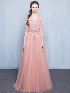 Elegant Pink Evening Dress 2016 A-line Scoop Neck Applique Lace Pink Tulle Long Dress