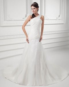 Organza Ruffle One Shoulder Court Train Mermaid Wedding Dress