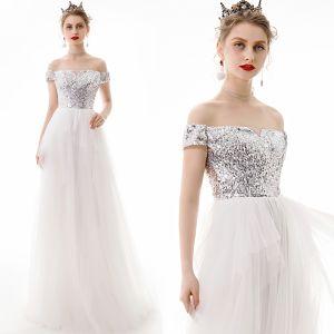 Modern / Fashion Ivory Evening Dresses  2019 A-Line / Princess Off-The-Shoulder Sequins Short Sleeve Backless Floor-Length / Long Formal Dresses