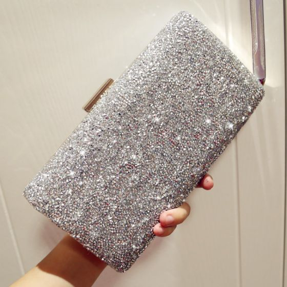 Sparkly Silver Glitter Rhinestone Metal Clutch Bags 2018