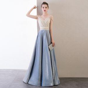 Mode Himmelblau Abendkleider 2020 A Linie V-Ausschnitt Perlenstickerei Ärmellos Rückenfreies Lange Festliche Kleider