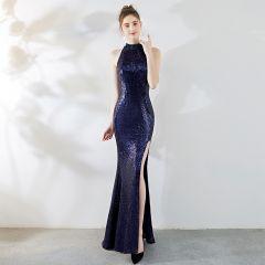 Sexy Navy Blue Evening Dresses  2019 Trumpet / Mermaid Scoop Neck Crystal Sequins Sleeveless Split Front Floor-Length / Long Formal Dresses