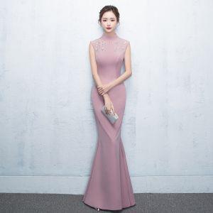 Chic / Belle Rose Bonbon Robe De Soirée 2018 Trompette / Sirène Cristal Paillettes Col Haut Sans Manches Longue Robe De Ceremonie