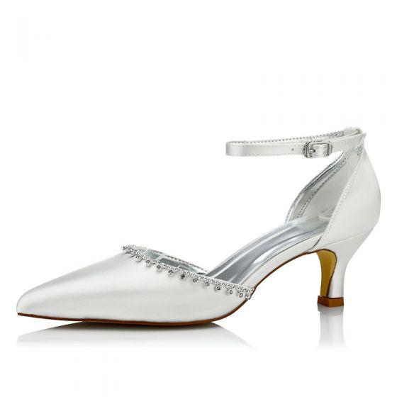 Modest / Simple Ivory Satin Wedding Shoes 2021 Rhinestone Ankle Strap 5 cm Stiletto Heels Pointed Toe Wedding Sandals High Heels