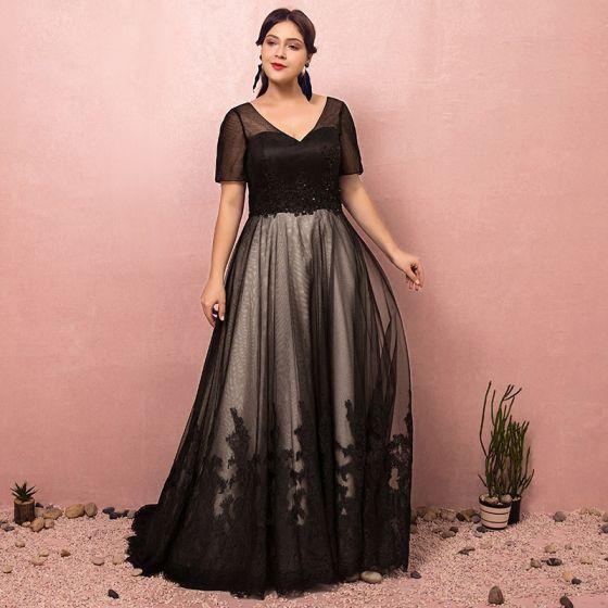 ebc5220ea8d7 Luxury   Gorgeous Black Plus Size Evening Dresses 2018 A-Line   Princess  Lace-up Tulle V-Neck ...