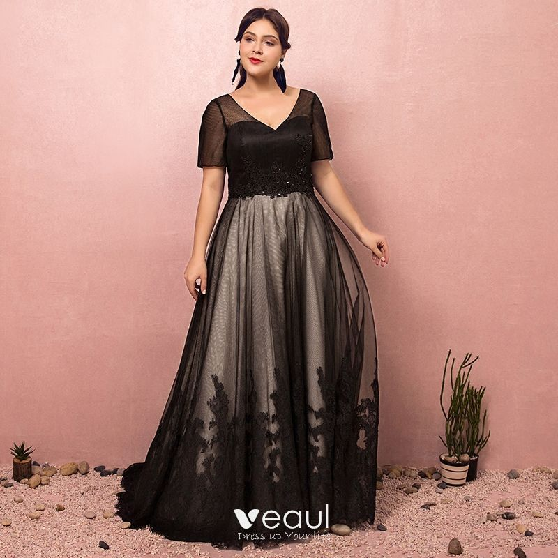 Luxury / Gorgeous Black Plus Size Evening Dresses 2018 A-Line / Princess  Lace-up Tulle V-Neck Appliques Backless Beading Sequins Evening Party Prom  ...