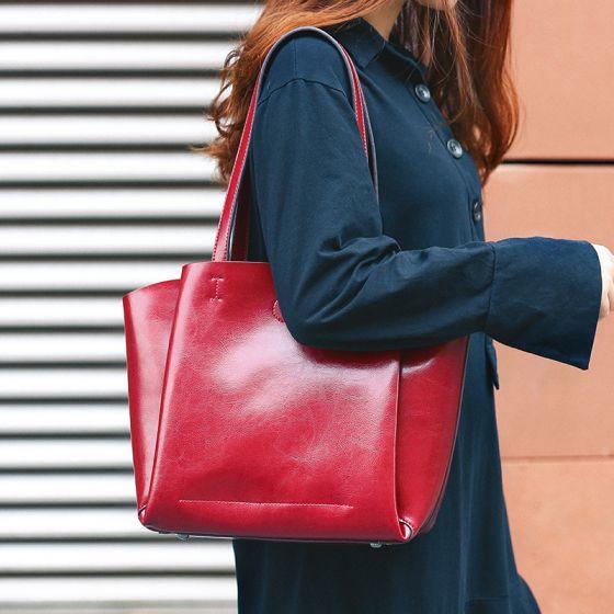 Schlicht Burgunderrot Einfarbig Schultertaschen 2021 Leder Freizeit Damentaschen