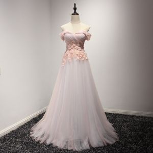 Chic / Beautiful Pearl Pink Evening Dresses  2017 A-Line / Princess Sweep Train Cascading Ruffles Off-The-Shoulder Short Sleeve Backless Crystal Pearl Appliques Flower Formal Dresses