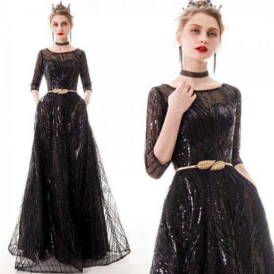 Piękne Czarne Sukienki Wieczorowe 2020 Princessa Przezroczyste Kwadratowy Dekolt 1/2 Rękawy Cekiny Metal Szarfa Długie Wzburzyć Sukienki Wizytowe