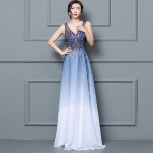 Discount Royal Blue See-through Evening Dresses  2019 A-Line / Princess V-Neck Sleeveless Beading Floor-Length / Long Ruffle Formal Dresses