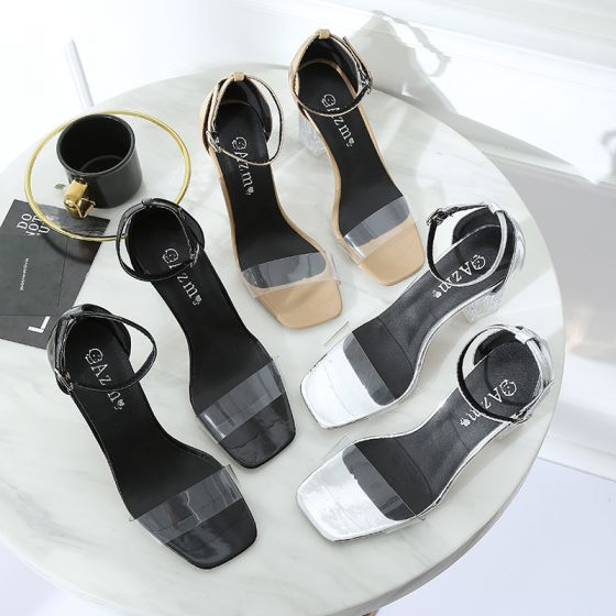 Transparent Silver Casual Womens Sandals 2018 Ankle Strap 7 cm Thick Heels Open / Peep Toe Sandals