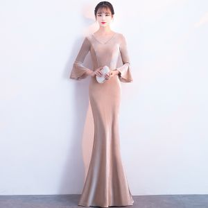Modest / Simple Khaki Suede Evening Dresses  2018 Trumpet / Mermaid 3/4 Sleeve V-Neck Floor-Length / Long Ruffle Formal Dresses