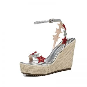 Chic / Beautiful Outdoor / Garden Womens Sandals 2017 PU Braid Sequins Wedges Open / Peep Toe Sandals