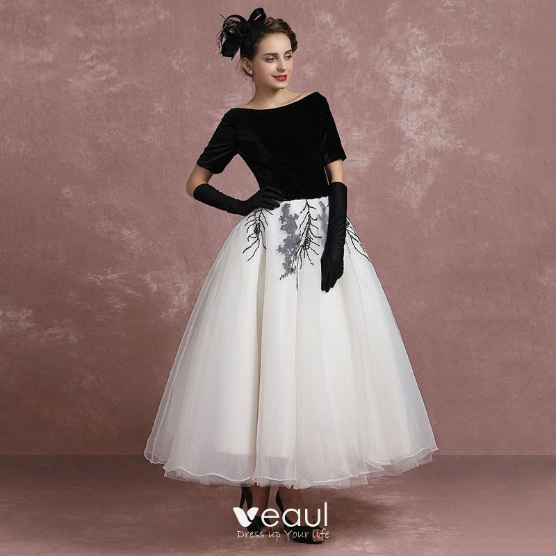 vintage black white prom dresses 2018 ball gown square