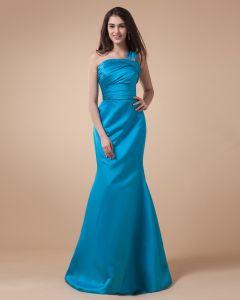 One Shoulder Ruffle Sleeveless Zipper Floor Length Charmeuse Bridesmaid Dresses