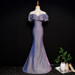 Bling Bling Purple See-through Evening Dresses  2019 Trumpet / Mermaid Scoop Neck Sleeveless Rhinestone Glitter Polyester Floor-Length / Long Ruffle Backless Formal Dresses